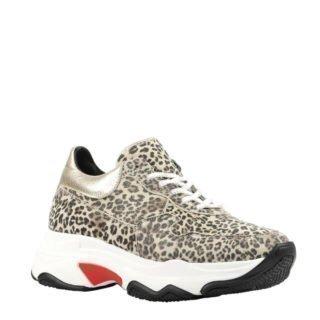 Hip leren sneakers met panterprint (zwart)