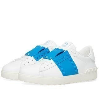 Valentino Rockstud Untitled Open Low Sneaker (White)