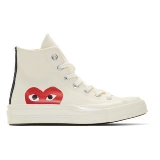Comme des Garcons Play Off-White Converse Edition Half Heart Chuck 70 High Sneakers