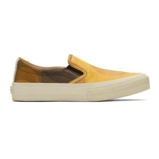 Dries Van Noten Yellow and Brown Verner Panton Edition Leather Sneakers