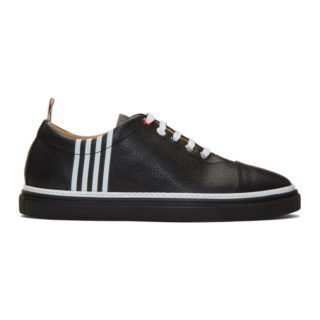 Thom Browne Black Leather 4-Bar Sneakers
