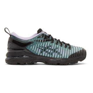 Kiko Kostadinov Black and Green Asics Edition Gel-Delva Sneakers