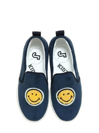 Smile Velvet & Leather Slip-on Sneakers (blauw)
