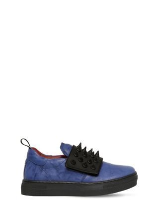 Spikes Nappa Leather Sneakers (blauw/zwart)