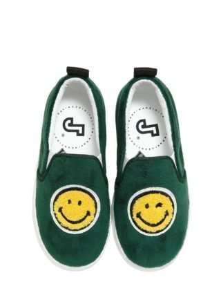 Smile Velvet & Leather Slip-on Sneakers (groen)