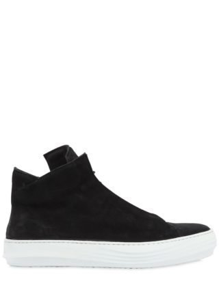 Waxed Leather High Top Sneakers (zwart)