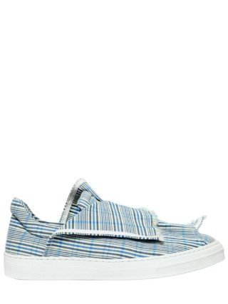 20mm Layered Check Canvas Sneakers (wit/blauw)