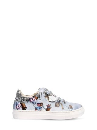 Cinderella Print Faux Leather Sneakers (blauw)