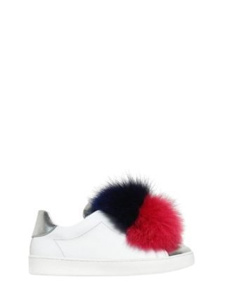 Nappa Leather Slip-on Sneakers W/ Fur (paars/blauw)