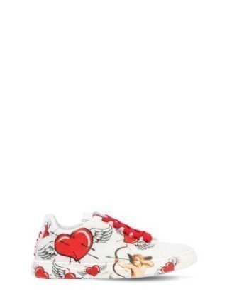 Heart Printed Glittered Sneakers (wit/rood)