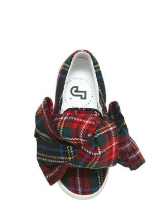 Plaid & Leather Slip-on Sneakers (multicolor)