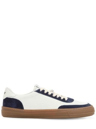 Leather Low Top Sneakers (wit/blauw)