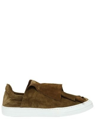 20mm Layered Suede Slip-on Sneakers (creme)