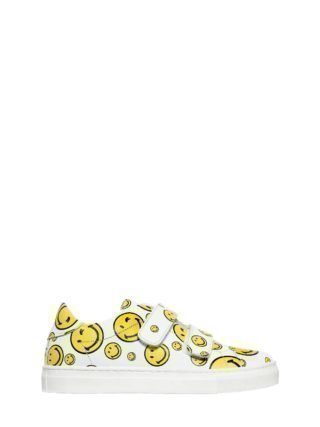 Smile Nappa Leather Strap Sneakers (wit)