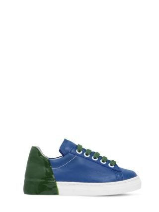 Rubber Heel Color Block Leather Sneakers (blauw/groen)
