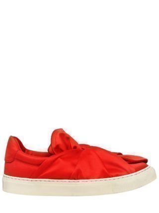 20mm Knot Satin Slip-on Sneakers (rood)