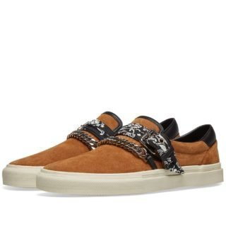 AMIRI Slip On Bandana Suede Sneaker (Brown)