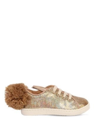 Bunny Sequined Leather Sneakers (goud)