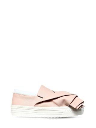 Bow Nappa Leather Slip-on Sneakers (roze)