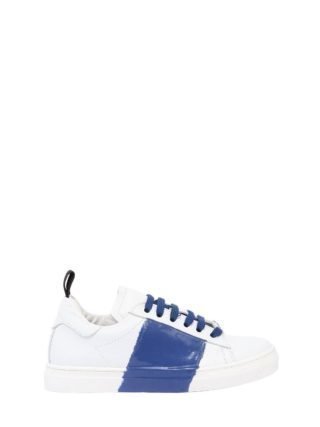 Rubber Stripe Two Tone Leather Sneakers (wit/blauw)