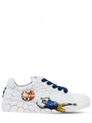 Football Printed Leather Sneakers (wit)