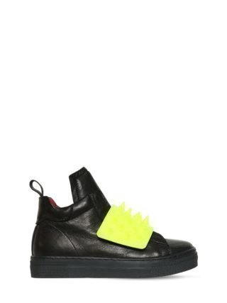 Spikes Nappa Leather High Top Sneakers (zwart/geel)