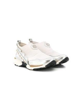 Roberto Cavalli Junior instap sneakers met ruche afwerking (wit)