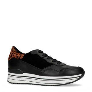 Manfield leren platform sneakers (zwart)