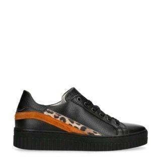 Manfield leren plateau sneakers zwart (zwart)