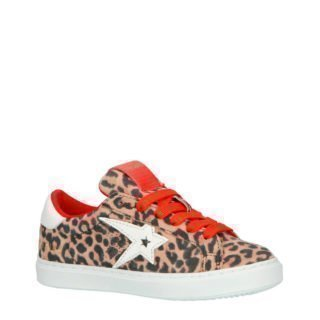 Vingino Mayke sneakers met panterprint (bruin)