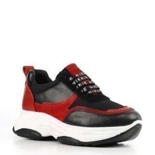NIKKIE Retro leren sneakers zwart/rood (zwart)