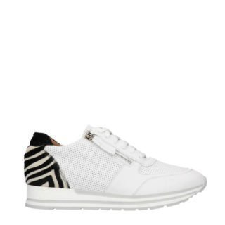 Manfield leren sneakers met zebraprint (wit)