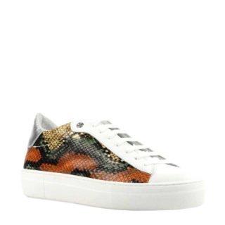 Lina Locchi leren sneakers met slangenprint oranje (oranje)
