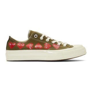 Comme des Garcons Play Khaki Converse Edition Multiple Hearts Chuck 70 Sneakers