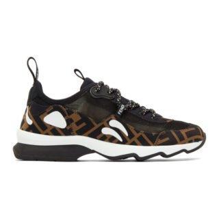 Fendi Brown and Black Forever Fendi Mesh Sneakers