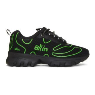 all in Black and Green Tennis Sneakers