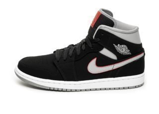 Nike Air Jordan 1 Mid (Black / Particle Grey - White - Gym Red)