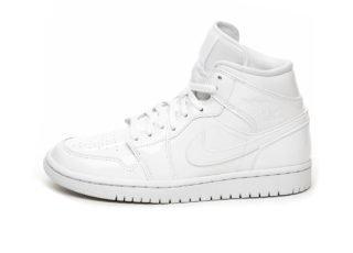 Nike Wmns Air Jordan 1 Mid (White / White - White)