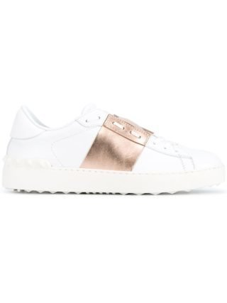 Valentino White Rose Gold Open Rockstud Sneakers - Wit