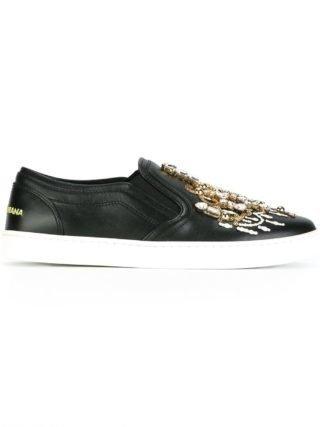 Dolce & Gabbana candlestick embellished slip-on sneakers (zwart)