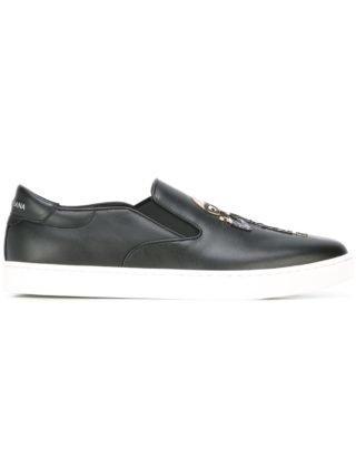 Dolce & Gabbana London designer patch-loafers (zwart)