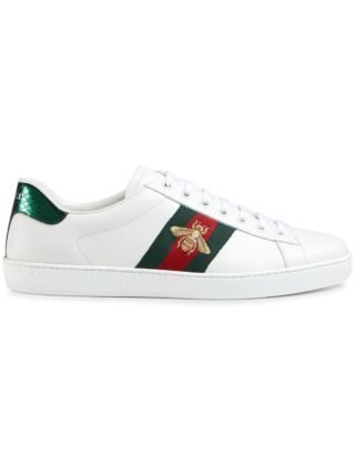 Gucci Ace embroidered low-top sneakers (wit)