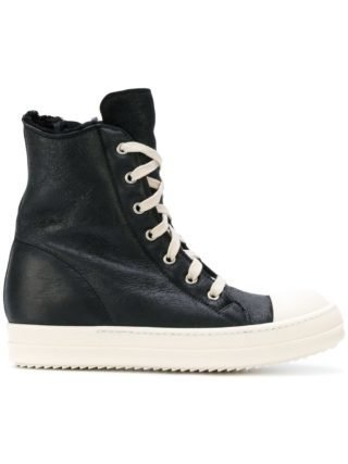 Rick Owens shearling-lined hi-top sneakers (zwart)
