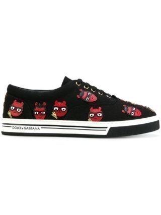Dolce & Gabbana duivelse designer patch Brooklyn sneakers (zwart)
