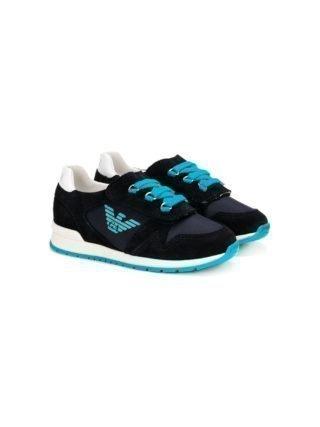 Emporio Armani Kids geperforeerde vetersneakers (blauw)