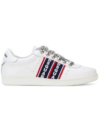 Dsquared2 Barney-logo stripe sneakers (wit)