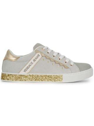 Versace Jeans glitter zool lage sneakers (wit)