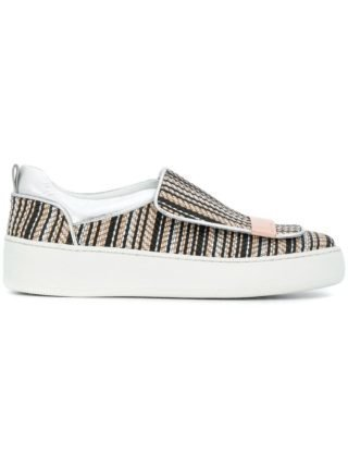 Sergio Rossi geweven slip-on sneakers (zwart)