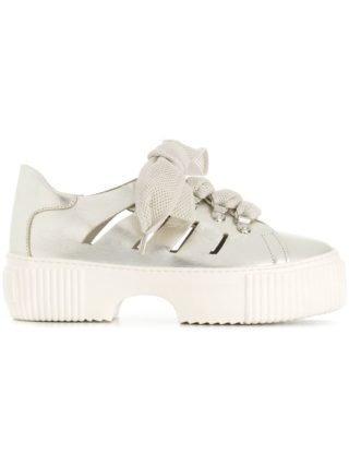 Agl sneakers met veterschoenen (zilver)