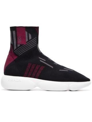 Prada zwarte grijze en rode Cloudburst 40 high top sneakers (zwart)